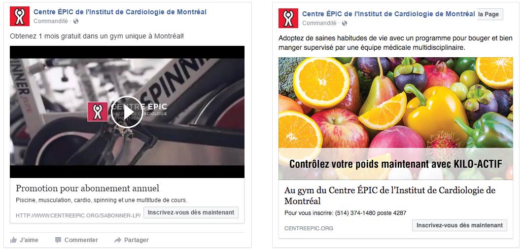 Centre ÉPIC, Institut de Cardiologie de Montréal Optimisation des réseaux sociaux et campagne Facebook, Google AdSense et AdWords